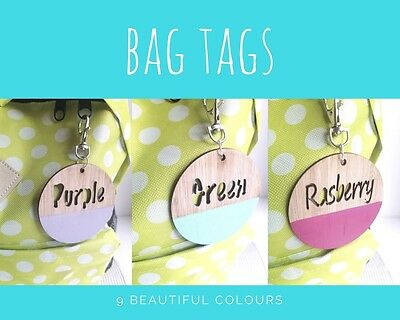 Personalised Children's Bag Tag Key Ring Timber Travel Bag Kids