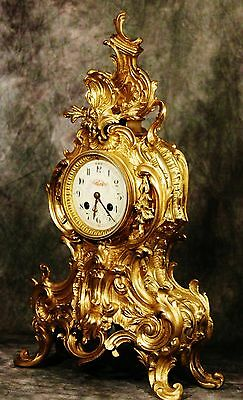 Splendid Large French Antique Heavy Solid Gilt  Bronze Clock 19Th C