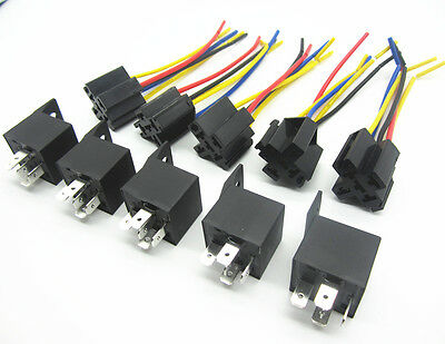 5x 12V DC Car SPDT Automotive Relay 5 Pin 5 Wires For W/Harness Socket 30/40 Amp