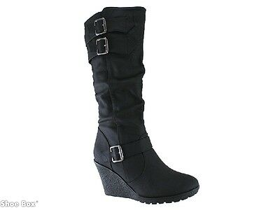 Isabella Brown Jamal Buckle Wedge Knee High Boots Women's AU size 5-10