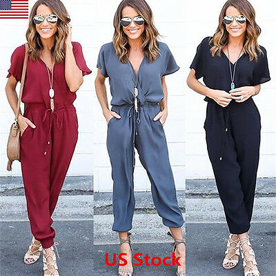 Women Clubwear Playsuit Casual Short Sleeve Party Jumpsuit Romper Trousers Pants