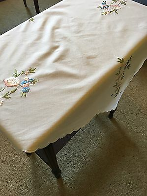 Vintage Embroidered Floral Cotton White Tablecloth 75cm Square Table