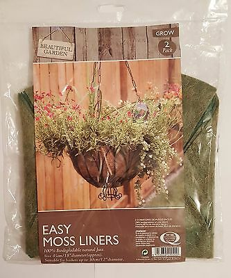 "2 PK EASY MOSS LINERS FOR HANGING BASKETS (Suitable For Baskets 12"" Diameter) UK"