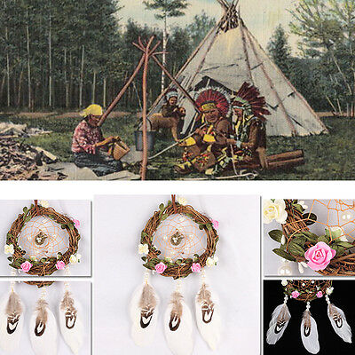 Dream Catcher brown wall hanging decoration bead ornament feathers long NEW