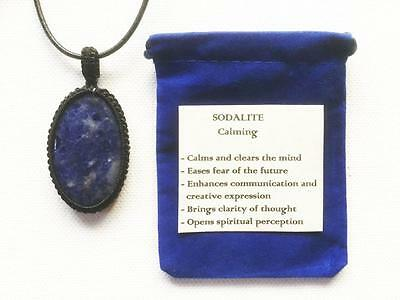 Sodalite Pendant Crystal Gemstone Necklace Adjustable Cord, With Velvet Pouch
