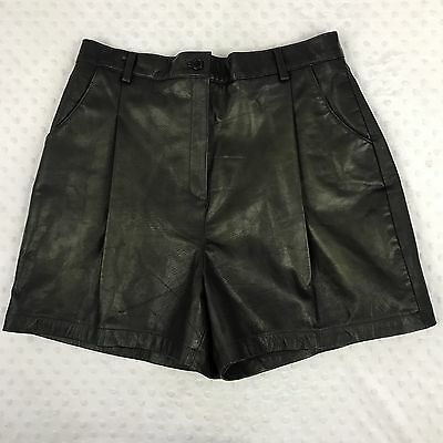 High Waisted Pleated Vintage Black Leather Mom Shorts Sz 16 Boutique Europa