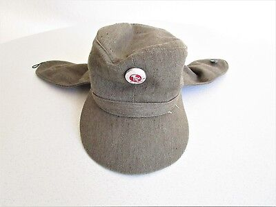 Vintage Green Russian Military Hat w/ Pin Ear Flap Size 57 Russia Cap Hipster