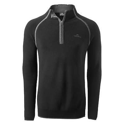 Kathmandu Ardross Mens 1/2 Zip Merino Wool Jumper Knitted Pullover v3 Black