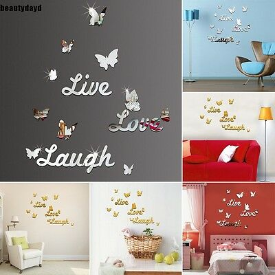 New DIY Letter 3D Mirror Wall Stickers Acrylic Wall Decal Home Bedroom BD6D