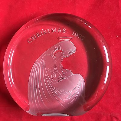 Large Wedgwood Glass Paperweight Christmas 1973 Clear Glass 14cm X 15cm