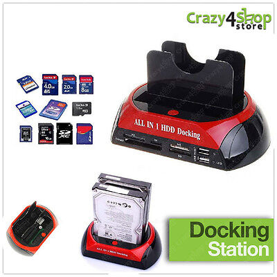 """Docking Station All In 1 Hard Disk Sata Ide 3,5"""" 2,5 Lettore Hdd Box Case Usb Sd"""