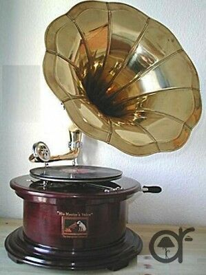 Grammophon mit trompete HIS MASTER VOICE in holz ed messing FUNKTIONIERT