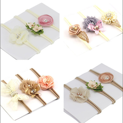 3x Headband Baby Girl Toddler Newborn Small Flower Bow Nylon Hair Band Accessory