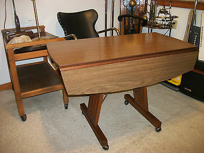Mid Century Walnut Transformable Drop Leaf Convertable Table