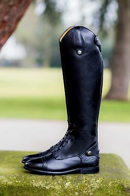 Mark Todd LONG LEATHER COMPETITION FIELD BOOT Laced Black Short Wide Calf 37-45
