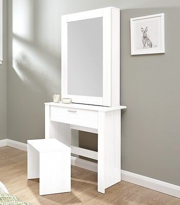 Dressing Table With Stool Large Sliding Mirror 1 Drawer Vanity Table Set  White