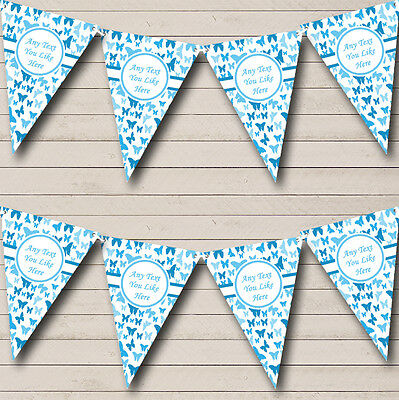 Beautiful Sky Blue Butterfly Shabby Chic Garden Tea Party Bunting Banner
