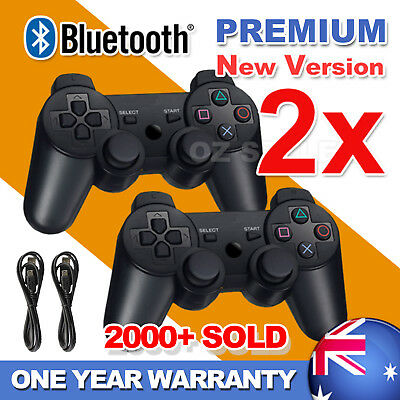 2X Premium Dual Shock Wireless Bluetooth Game Controller For PS3 PlayStation3 AU