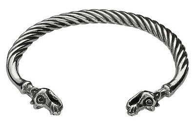 DRAGONS HEAD TORQUE BANGLE British Made Pewter Mens Womens Celtic Gift 1/3 OFF