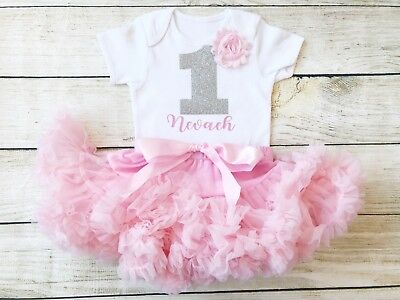 Personalised First 1st Birthday Tutu Set Baby Girl Pink Silver Cake Smash Outfit