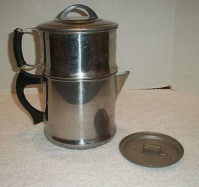 VTG 4 Pc Stove Top Lifetime Cookware Stainless Steel Drip Coffee Pot 8-10 Cups