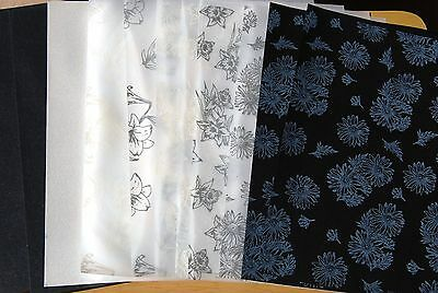12 A4 Sheets Of Dawn Bibby Black & White Flowers Themed Vellum Paper & Card