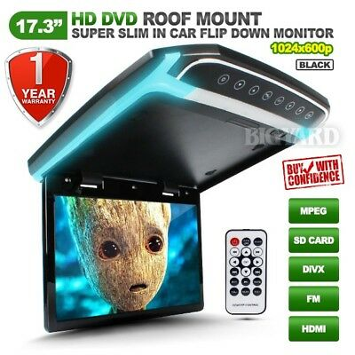 "17.3"" Slim HD LCD SD HDMI Black Roof Mount Overhead DVD Flip-Down Monitor w/ LED"
