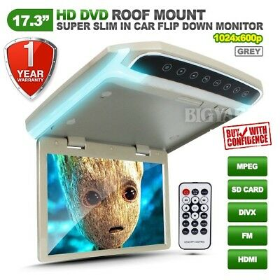 "17.3"" Slim HD LCD SD HDMI Grey Roof Mount Overhead DVD Flip-Down Monitor w/ LED"
