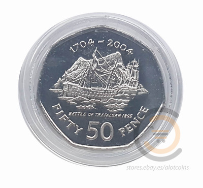 2004 GIBRALTAR 50p PENCE UNCIRCULATED IN CAPSULE COIN COINS