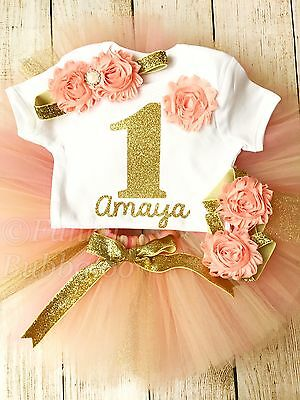 Personalised First 1st Birthday Tutu Set Baby Girl Gold Peach Cake Smash Outfit
