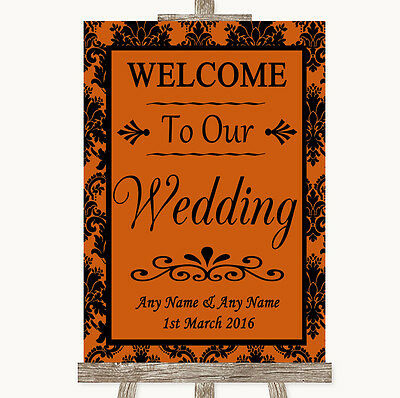 Burnt Orange Damask Welcome To Our Wedding Personalised Wedding Sign