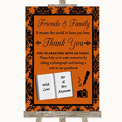 Burnt Orange Damask Photo Guestbook Friends & Family Personalised Wedding Sign