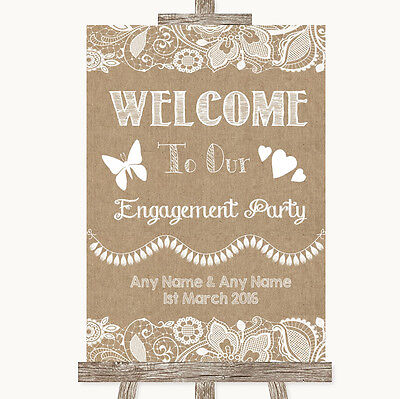 Burlap & Lace Welcome To Our Engagement Party Personalised Wedding Sign
