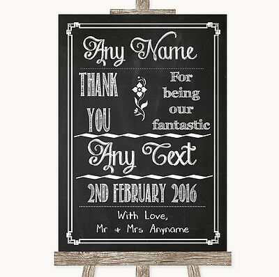 Chalk Sketch Thank You Bridesmaid Page Boy Best Man Personalised Wedding Sign