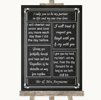 Chalk Style Romantic Vows Personalised Wedding Sign