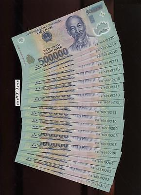 8 Million CRISP Vietnam Dong UNCIRCULATED SERIAL NUMBERS 16 x 500,000 500000 VND