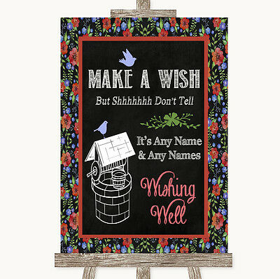 Floral Chalk Wishing Well Message Personalised Wedding Sign