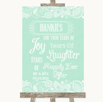 Green Burlap & Lace Hankies And Tissues Personalised Wedding Sign