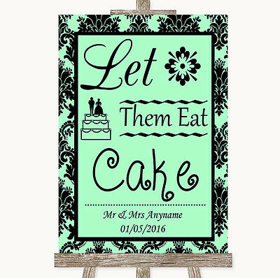 Mint Green Damask Let Them Eat Cake Personalised Wedding Sign