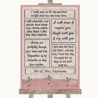 Pink Shabby Chic Romantic Vows Personalised Wedding Sign