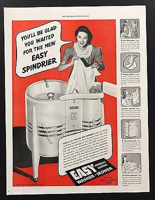 Easy Spindrier Washing Machine   1945 Vintage Ad   1940s Home Appliance