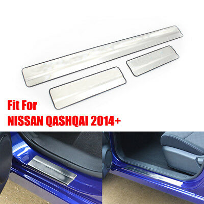Chrome Door Sill Plate Covers Scuff Protectors Trim Fit For Nissan Qashqai 2014+