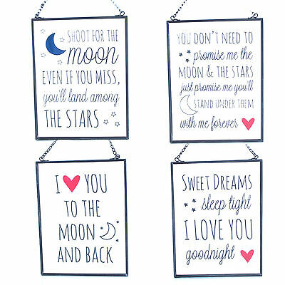 Small Vintage Style GLASS & METAL Sign Wall Art Hanging Decor LOVE SWEET DREAMS
