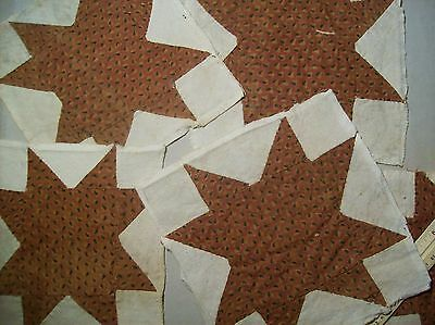 "Antique Quilt Blocks 19c Hand sewn/Muslin-cotton Primitive 5 pcs 7 1/4""-8"""
