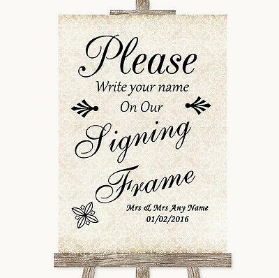 Shabby Chic Ivory Signing Frame Guestbook Personalised Wedding Sign