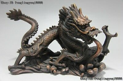 Chinese Red Bronze Copper Feng Shui Lucky Auspicious Zodiac Dragon Beast Statue