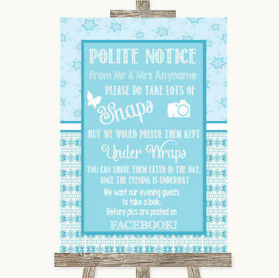 Blue Share On Facebook Personalised Wedding Sign Poster