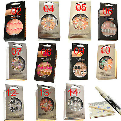 Full False Nail Womens Acrylic Collection Manicure Glitter Fake French Art Tips