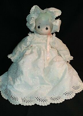 """Precious Moments Baby Doll white Christening gown 15"""" girl bonnet porcelain head"""