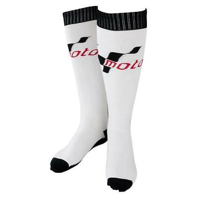 New Pairs Of White & Black Knee Motogp Cotton Motorcycle Boot Socks Adult 1 Size